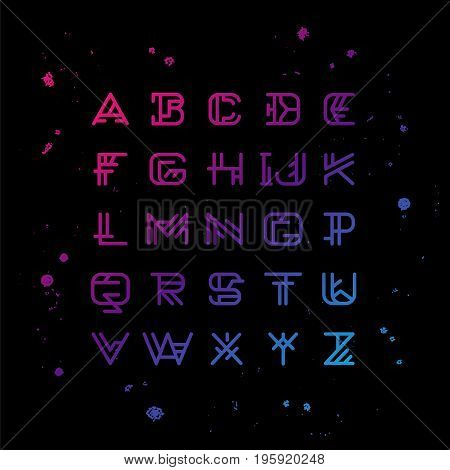 Linear geometric vector alphabet. English letters on a black background. Sacred font. Elements for design.
