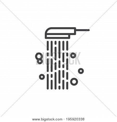 Shower line icon, outline vector sign, linear style pictogram isolated on white. Douche symbol, logo illustration. Editable stroke. Pixel perfect graphics