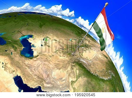 Tajikistan national flag marking the country location on world map. 3D rendering, parts of this image furnished by NASA