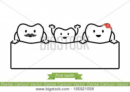 Baby Tooth In Funny Family - First Teeth Concept - Cartoon Vector Outline Style