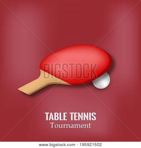 illustration of racket and ball with table tennis tournament text on the event of table tennis sport tournament