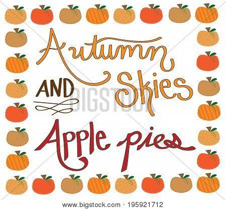 Fall Harvest Autumn Skies Apple Pies Pumpkin Border