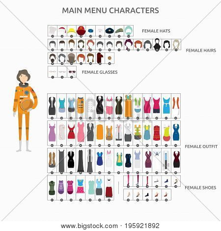 Character Creation Astronaut   set of vector character illustration use for human, profession, business, marketing and much more.The set can be used for several purposes like: websites, print templates, presentation templates, and promotional materials.