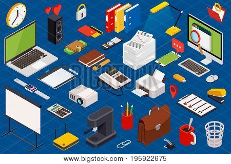 Flat 3d isometric computerized technology workspace infographic concept - vector illustration