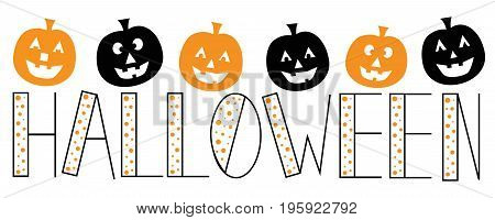 Happy Halloween Holiday Seasonal Pumpkins and Lettering