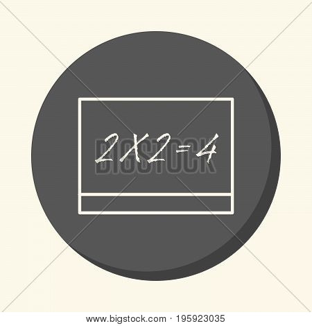 A school board with a white inscription two times two is equal to four a vector circular linear icon with an illusion of volume an element for your school site or booklet