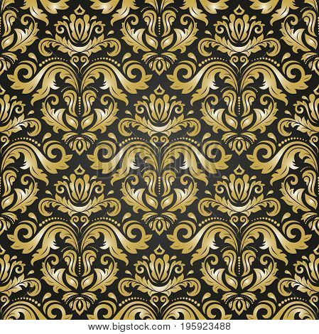 Oriental classic black and golden pattern. Seamless abstract background with repeating elements. Orient background