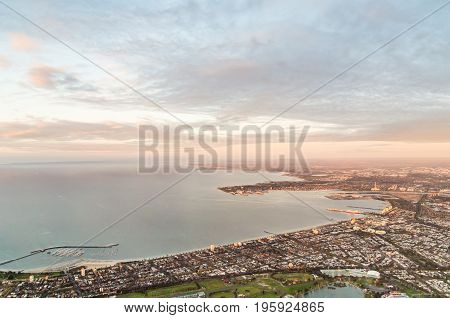 Aerial view of Melboure bayside suburbs of Albert Park South Melbourne and Port Melbourne in Australia