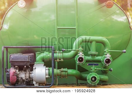 Green Fire Truck Hose Connectors Or Water Pump With Connectors For Spray To Garden