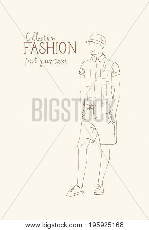 Fashion Collection Of Clothes Male Model Wearing Trendy Clothing Sketch Vector Illustration