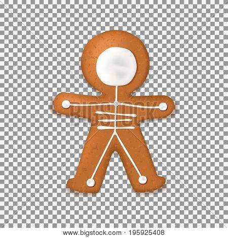 Skeleton gingerbread man cookies isolated on transparent backdrop. Top view on realistic dessert with milk chocolate for halloween. Vector illustration.