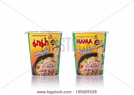 PHUKET THAILAND - JUNE 25 2017. Mama Cup instant noodles. Owned by Thai President Foods Public Company Limited was established on February 15 1972. Mama is popular brand in Thailand
