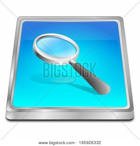 glossy blue magnifying glass button - 3D illustration