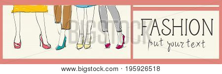Fashion Collection Of Clothes Set Of Male And Female Models Wearing Trendy Clothing Sketch Vector Illustration