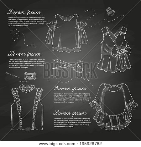 Set of woman casual clothes, blouses with frills. Simple flat vector illustration on a chalkboard