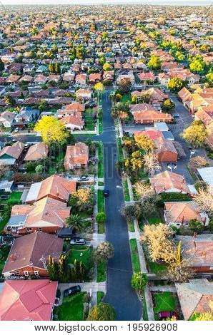 Aerial view of residential homes in a south eastern suburb of Melbourne Australia