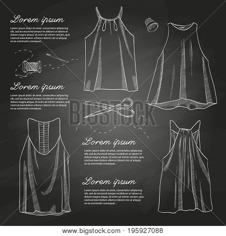 Set of woman casual clothes, t-shirts with thin britels. Simple flat vector illustration on a chalkboard