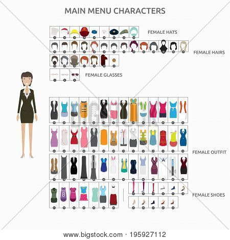 Character Creation Businesslady   set of vector character illustration use for human, profession, business, marketing and much more.The set can be used for several purposes like: websites, print templates, presentation templates, and promotional materials