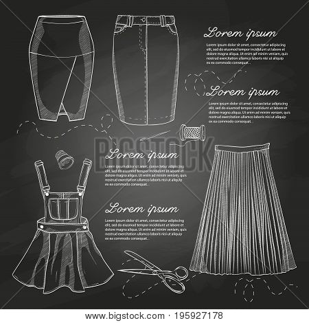 Set of woman casual skirts and overall dress. Simple flat vector illustration on a chalkboard