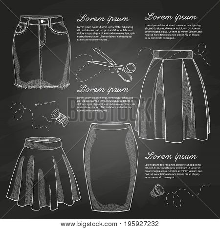 Set of woman casual skirts. Simple flat vector illustration on a chalkboard