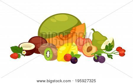 Ripe melon, juicy peach, stem with dog rose, sour lemon, tropical kiwi, fresh coconut, sweet strawberry, healthy blueberry, tasty plum and oily avocado in big heap isolated vector illustration.
