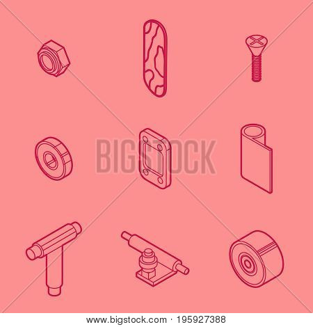 Skateboard spare parts set. Fingerboard and spare parts. Set of fingerboard and fingerboarding of equipment, elements of street style. Collection symbols fingerboard. Vector illustration.