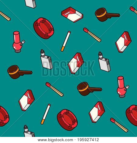Smoking flat outline isometric pattern. Vector illustration, EPS 10