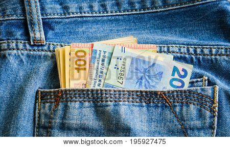 Money Banknotes On Jean Pocket
