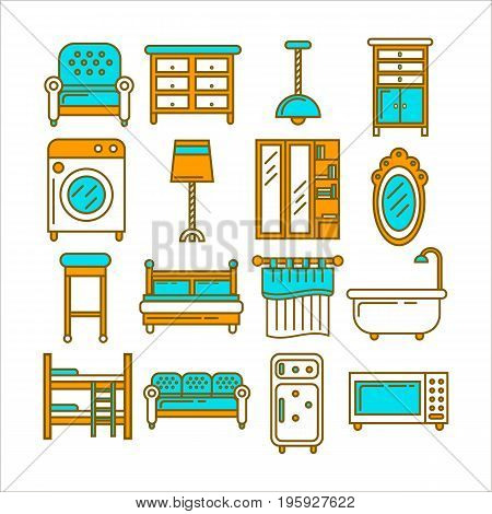 Soft seats, spacious furniture with drawers, stylish illumination, powerful washing machine, comfortable beds, kitchen curtain, bath with shower, microwave oven and old freezer vector illustration.