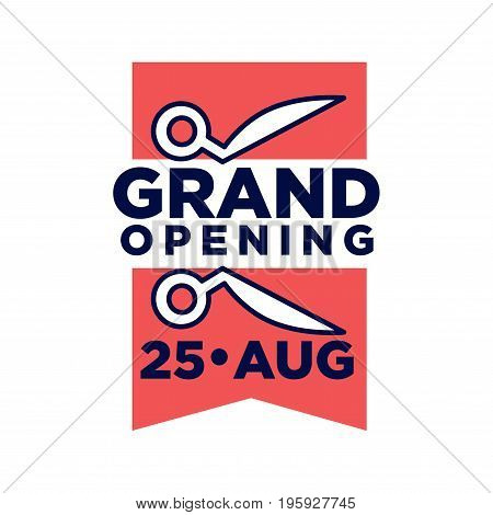 Grand opening on 25 August promotional emblem with two pieces of red ribbon and scissors isolated flat vector illustration on white background. Grandiose ceremony logotype for advertisement.