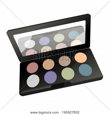 Vector illustration of palette with different colored powder and mirror isolated on white.