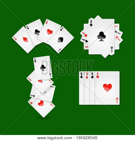 Aces set that lays in form of fan, in neat row and in mess on green play field at casino. Winning combination in card game with big stakes. Equipment for gambling isolated vector illustration.