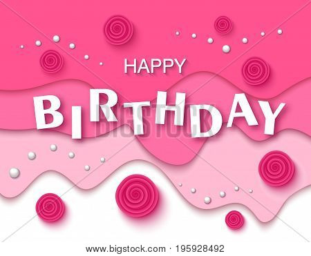 Happy birthday greeting card and party invitation template with beautiful flowers and pearls. Vector illustration