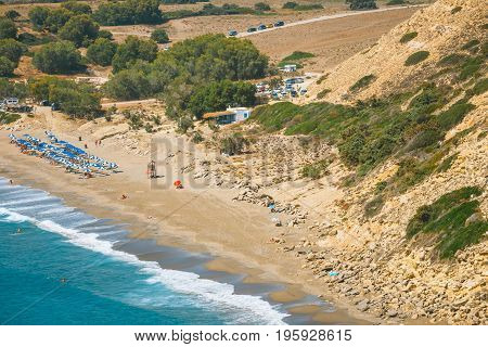 Kommos, Beautiful Sandy Beach Near Matala And Kalamaki, Crete, Greece
