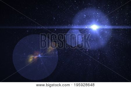 Abstract digital lens flare in black background horizontal frame