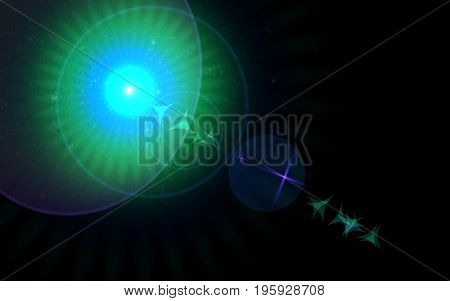 Abstract spacescape speed of light and lens flare.Big lens flare with star effects.Spread Abstract digital lens flare light and colorful light