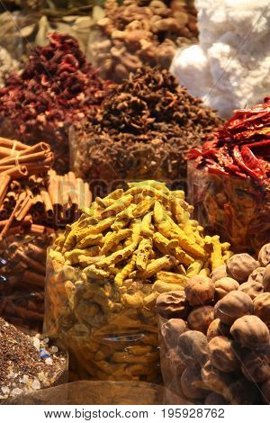 Variety of Spices in a spice market in an old city.