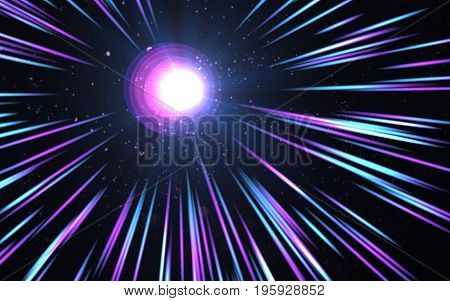 abstract thick lens flare light over black background.Round beautiful digital lens flare effects.