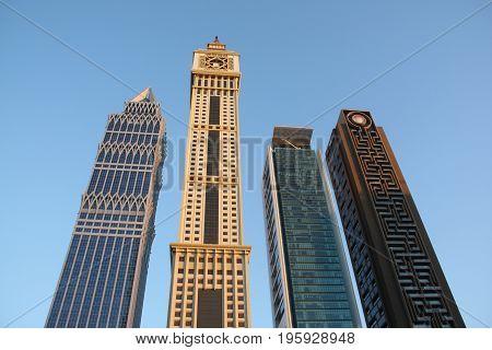 Beautiful skyscrapers in Dubai with an interesting architecutural desin.