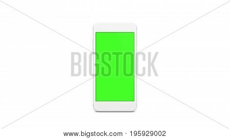 White smartphone with green color on screen and isolated white background.Front side telephone with green on screen