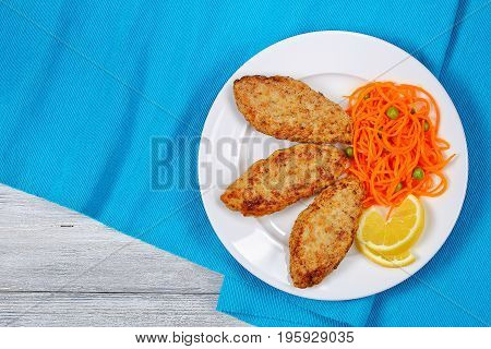 Juicy Chicken Turkey Fried Cutlets, Top View