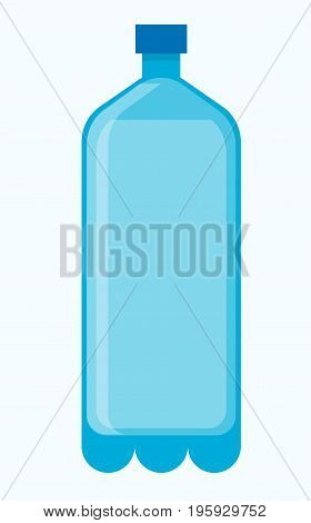 Big blue plastic bottle of fresh potable water. Cool refreshing beverage in simple spacious universal container with small cap for tightness isolated cartoon vector illustration on white background.