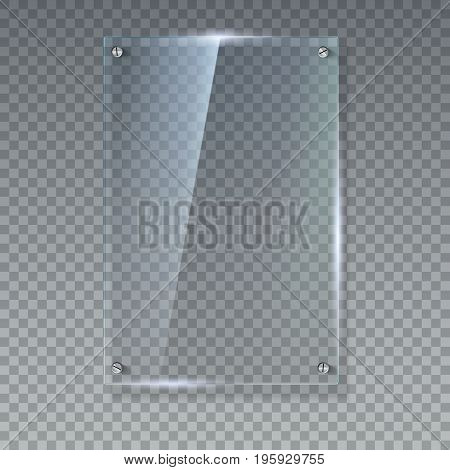 Blank, transparent vector glass plate. Vector template, vertical banner with copy-space. Photo realistic texture with highlights and glow on the transparent. See through the plastic, 3D illustration.