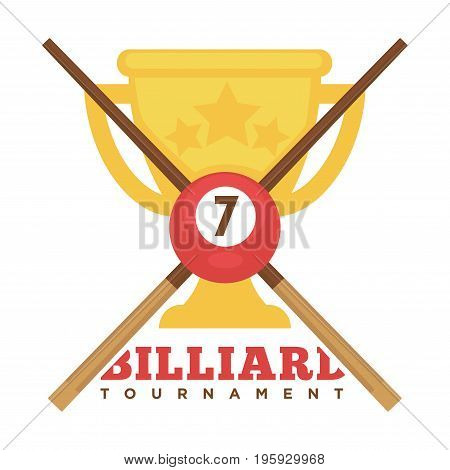 Billiard tournament emblem with crossed wooden cues, ball with number and gold cup that has engraved stars isolated vector illustration on white background. Championship promotional cartoon logo.