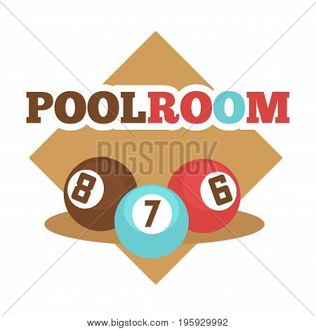 Pool room isolated promotional emblem with numbered colorful balls and beige rhombus behind isolated flat vector illustration on white background. Nice place for billiard game advertisement.