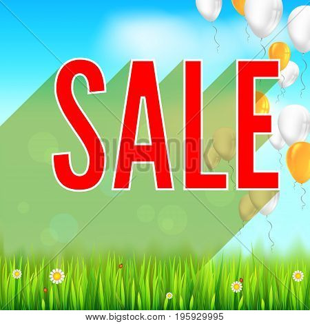 Summer selling ad banner with an inflatable colored balloons. Discount, sale background, yellow sun, green field, white clouds and blue sky. Template for shopping, advertising.