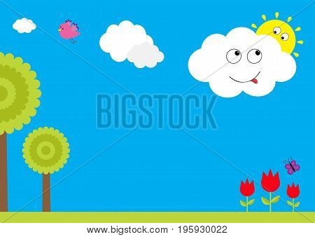 Three red tulip flower set with leaf and flying butterfly insect. Tree plant flying bird smiling cloud with sun. Floral plant decoration element. Flat design. Blue sky background. Isolated. Vector