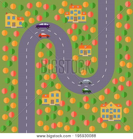 Plan of village. Landscape with the road forest lake cars and five houses. Vector illustration