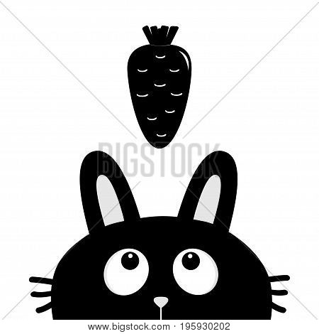 Black rabbit bunny face head silhouette looking up to carrot vegetable. Cute cartoon funny character. Kawaii animal. Baby card. Sticker print template. Flat design. White background. Isolated. Vector