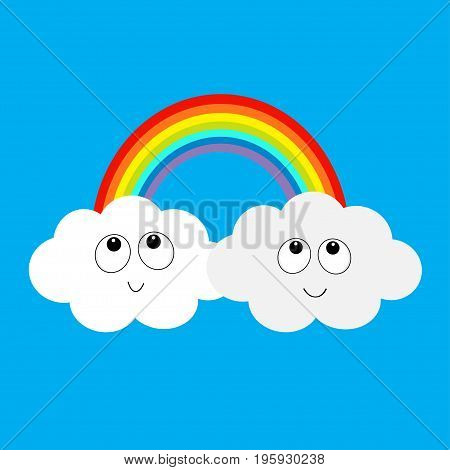 Rainbow and two clouds in the sky. Happy smiling face. Cute cartoon character. Dash line cloudshape twins. Love card. LGBT sign symbol. Flat design. Blue background. Vector illustration.